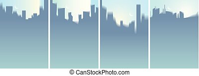 City skyscrapers silhouettes skyline vector illustrations set. Perfect minimal backgrounds with copy space for text.
