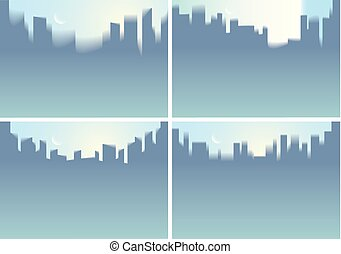 City skyscrapers silhouettes skyline vector illustrations set. Perfect minimal horizontal A4 backgrounds with copy space for text.
