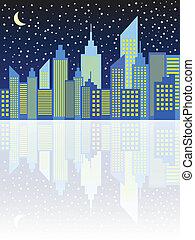 City Skyscrapers Skyline In Night