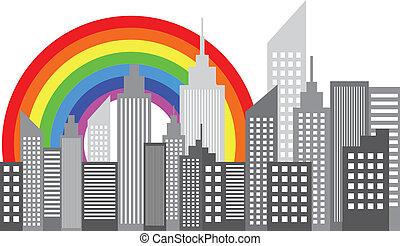 City Skyscrapers Skyline Rainbow