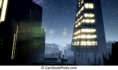city skyscrapes at night with Milky Way stars