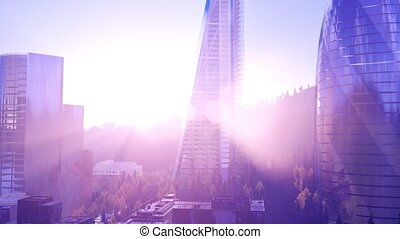 city skyscrapes with lense flairs at sunset