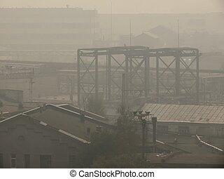 city., smog.