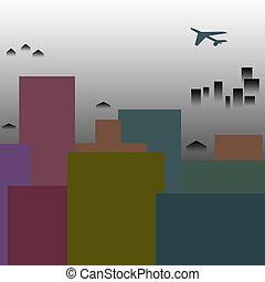 city smog - air pollution over a treeless city skyline