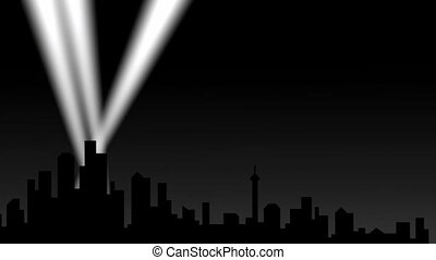 City silhouette with spotlights.