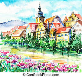 Spring in small city near the river. Picture created with watercolors.