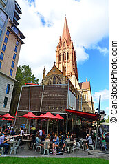 MELBOURNE - APR 13, 2014:Visitors at City Square ,Melbourne. Its historical a popular tourist destination in Melbourne Australia.