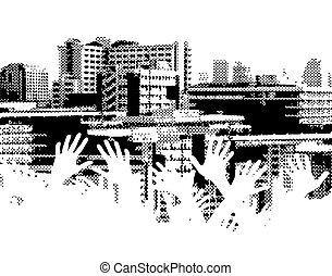 City strain - Halftone design of a city skyline with...