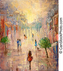 City street - Abstract painting of people having a walk on ...