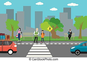 City street and road, cartoon people go and stand, urban life concept