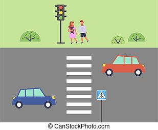 City street and road, children get ready to cross the road,outdoor flat vector illustration