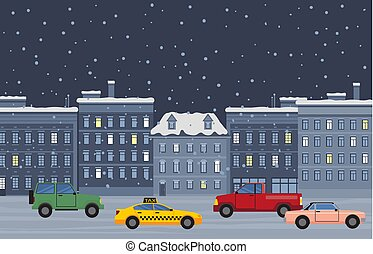 City Street at Night, Winter Cityscape with Cars