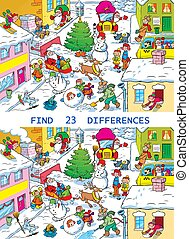 City street before Christmas - Vector puzzle with a city ...