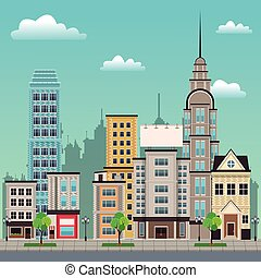 city street buildings tree design