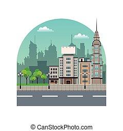 city street buildings tree silhouette landscape