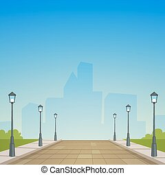 City Street - Cartoon illustration of the street in the city...