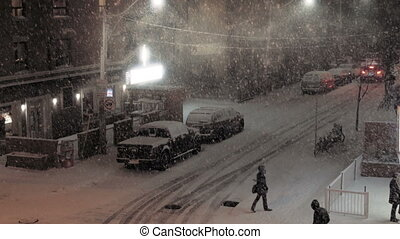City street corner during a winter storm. - Establishing...