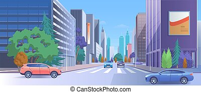 City street downtown vector illustration, cartoon 3d urban cityscape with car traffic on road, luxury modern skyscraper buildings with store and billboard
