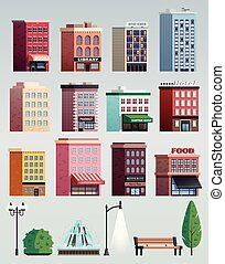 City street colorful houses office buildings street elements collection with lanterns trees bench isolated vector illustration