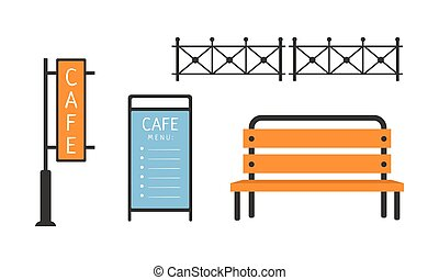 City street elements set, fence, bench, cafe signboard, menu vector Illustration on a white background