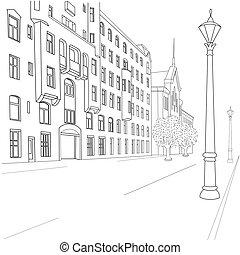 city street -  Outline sketch of european city street