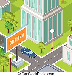 City Street Fragment Isometric Projection Vector