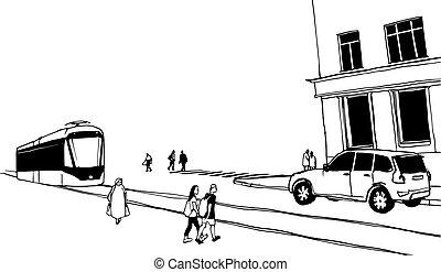 City street hand drawn illustration. Vector black and white ...