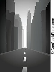 Illustration of an empty city street