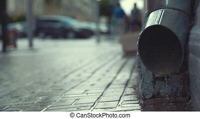 City street in heavy rain