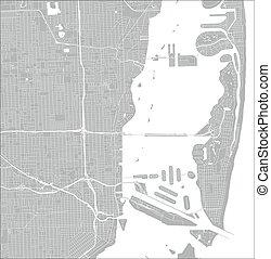 City Street Map, Miami, Florida, US