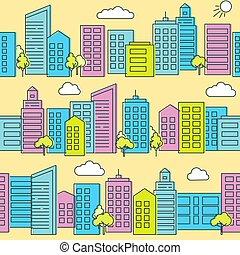 City street seamless pattern in flat style