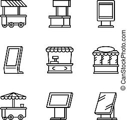 City street shop icon set, outline style