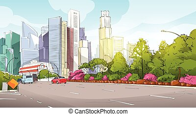 City Street Skyscraper View Sketch Cityscape Vector...