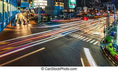 CITY STREET TRAFFIC AT NIGHT