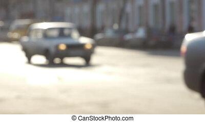 City street traffic defocused view slow motion 60 fps
