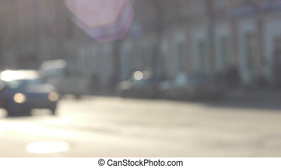 City street traffic defocused view slow motion 60 fps