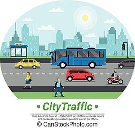 City Street Traffic Flat Circle