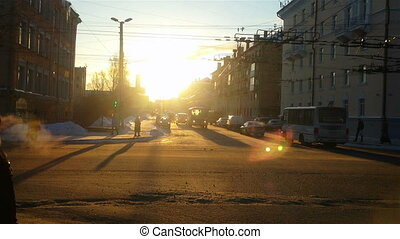 City street traffic in Petrozavodsk, Russia