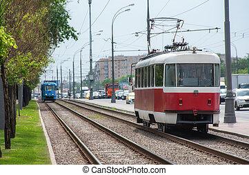 City street tram