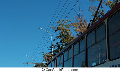 City street. Trolleybus and lines - Low angle view shot of a...