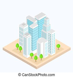 City street urban buildings, landscapes of 3D isometric projection. Vector illustration.