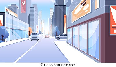 City street vector illustration, cartoon modern urban cityscape with office skyscraper buildings, store or town houses, cars on road background