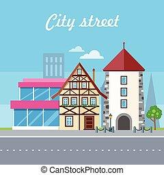 City Street Vector Illustration. Urban Landscape