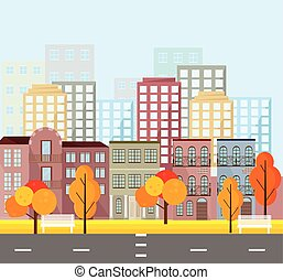 City street view, buildings in autumn season. Vector Mapple leaves backgrounds