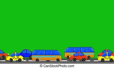 City street with cars riding. Sity street animation.