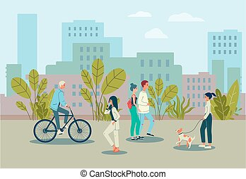 City street with diverse people and buildings, flat vector illustration isolated.