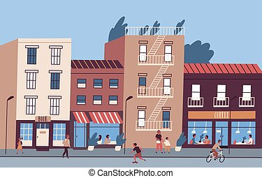 City street with people walking and sitting in cafe and restaurant. Colorful cityscape with pedestrians. Urban landscape with building facades. Flat vector cartoon illustration