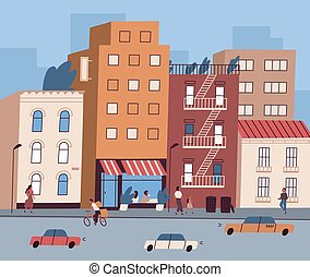 City street with tiny people walking and sitting in cafe and cars on the road. Cityscape with residential buildings view. Colorful urban downtown, landscape. Flat vector cartoon illustration