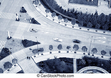 City streets - Aerial view of the modern city street