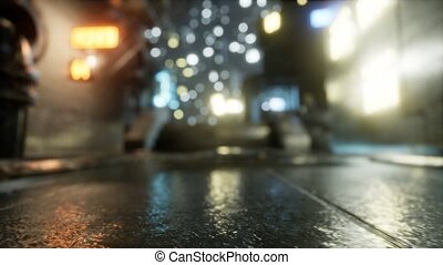 City Streets In The Rain At Night